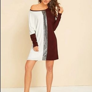 New Shein colorblock sequins tunic, size X